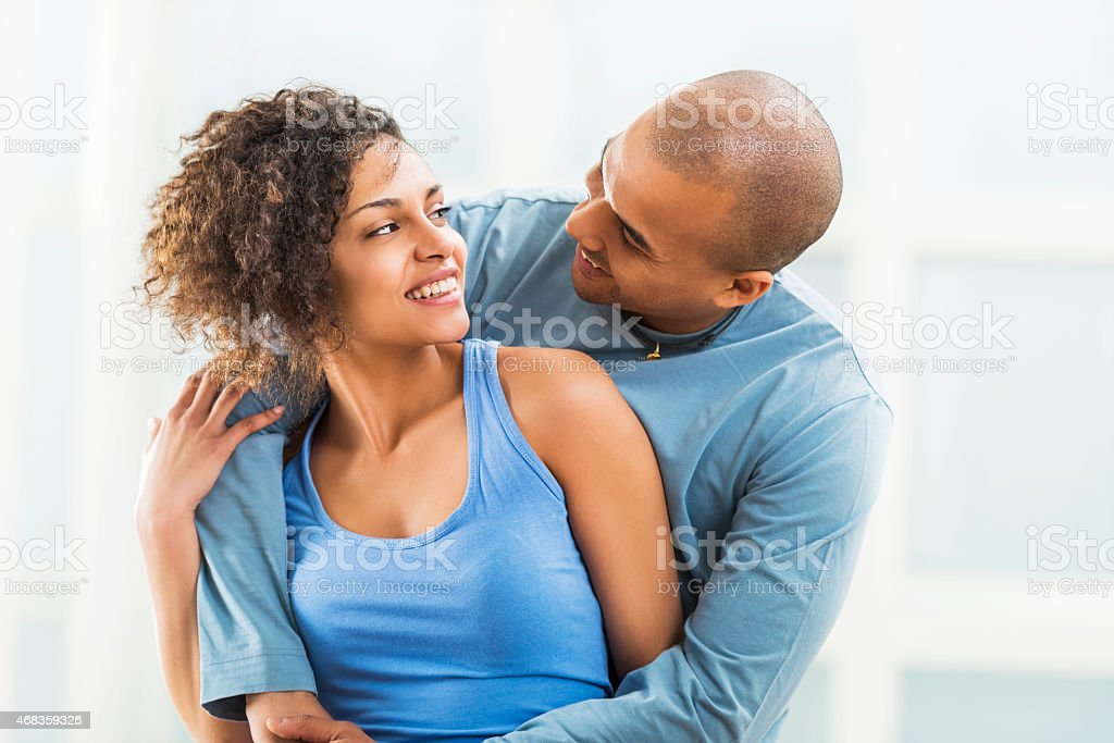 Embraced African American couple in love. royalty-free stock photo