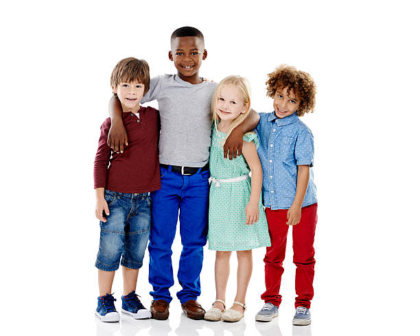 Embracing diversity Studio shot of a group of young friends standing together against a white backgroundhttp://195.154.178.81/DATA/istock_collage/0/shoots/784883.jpg children only stock pictures, royalty-free photos & images