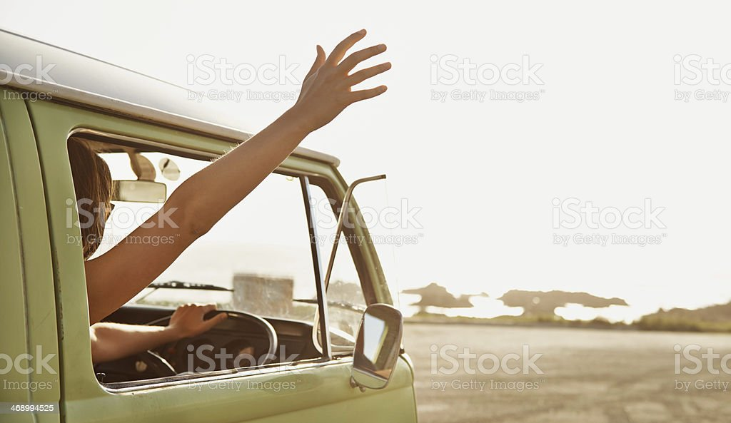 Embracing freedom on the open road royalty-free stock photo
