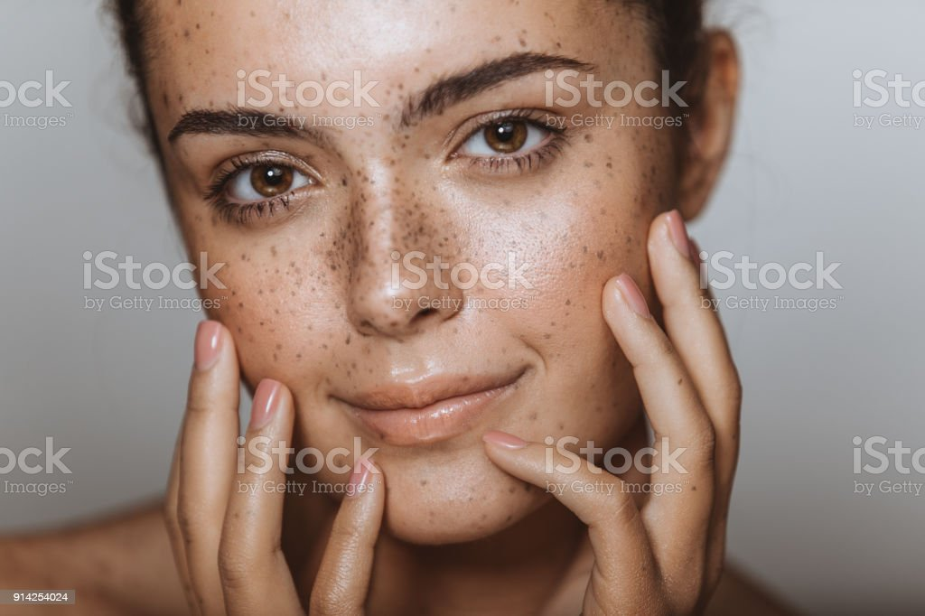 Embracing my flawless skin stock photo