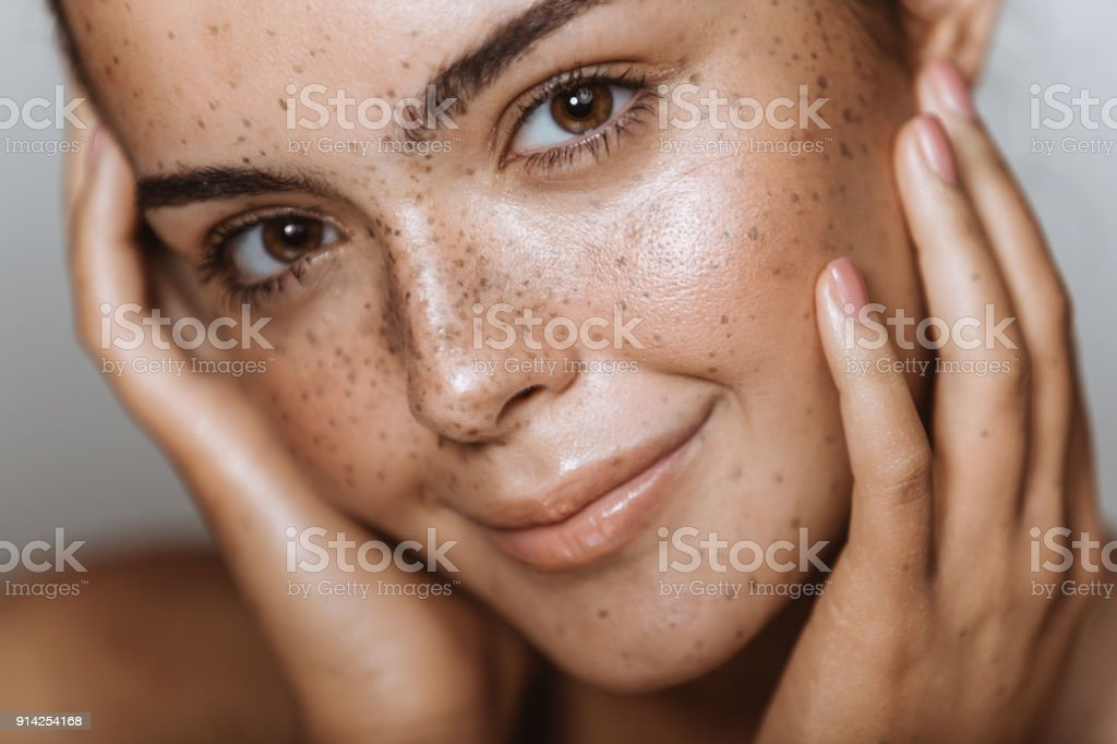 Embracing my flawless skin stock photo