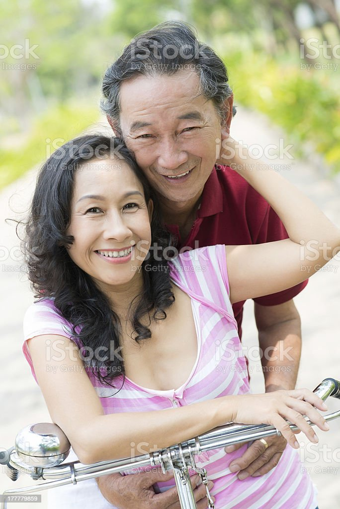 Embracing seniors stock photo