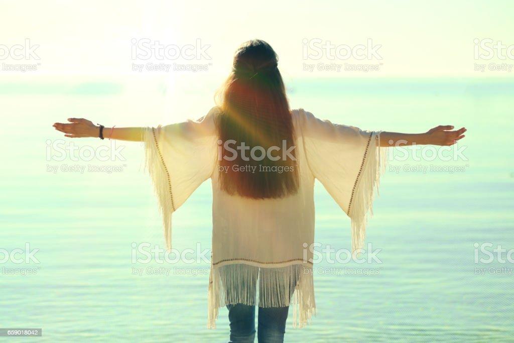 Embracing sunshine royalty-free stock photo