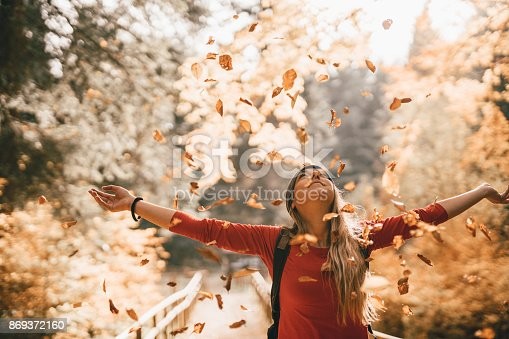 istock Embracing the golden autumn 869372160