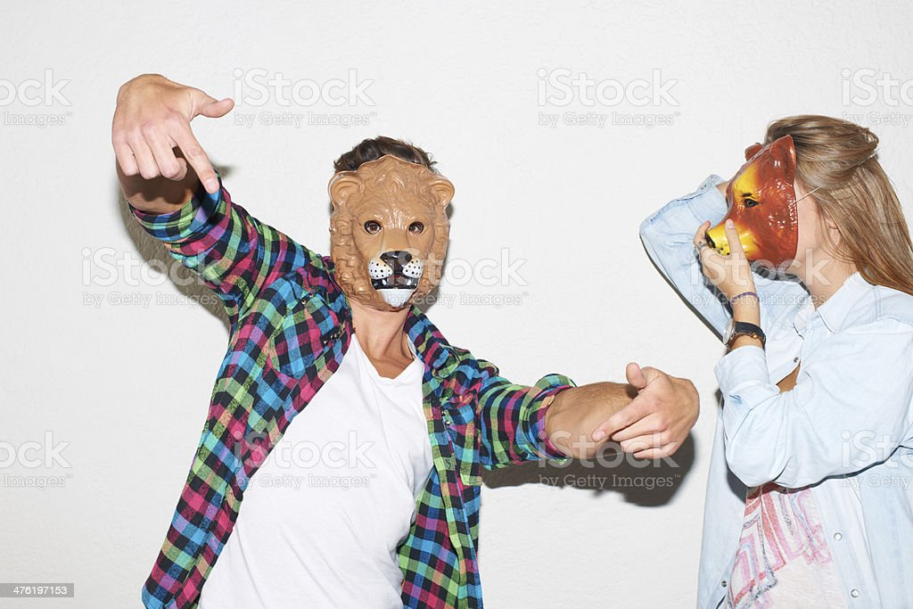 Embracing their wild side stock photo