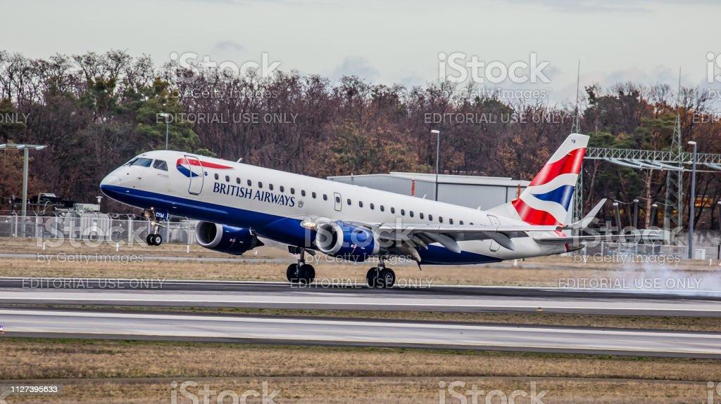 Embraer ERJ-190LR British Airways landet auf dem Flughafen Frankfurt Am Main – Foto