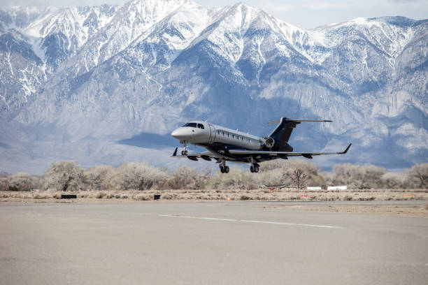 Embraer Legacy 500 at Bishop Airport (KBIH) Bishop, California, USA stock photo