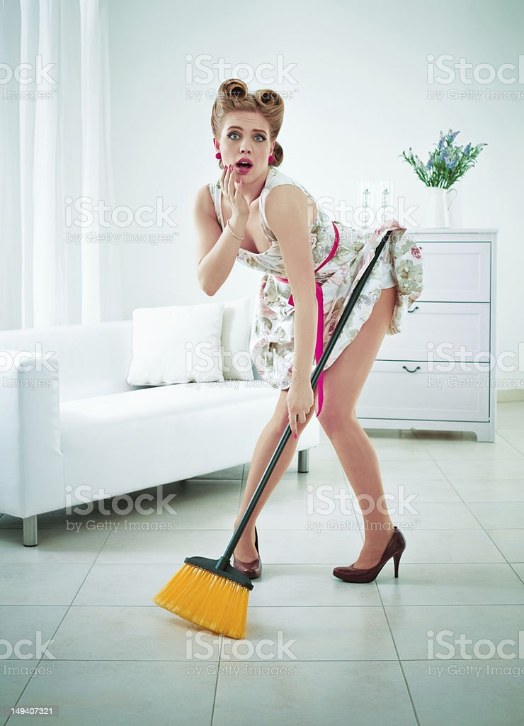 Embrassing retro housewife stock photo