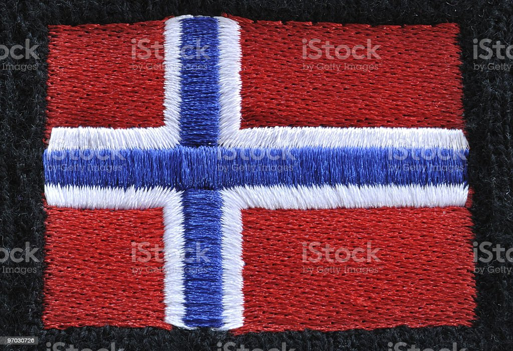 Embroidered Flag of Norway royalty-free stock photo