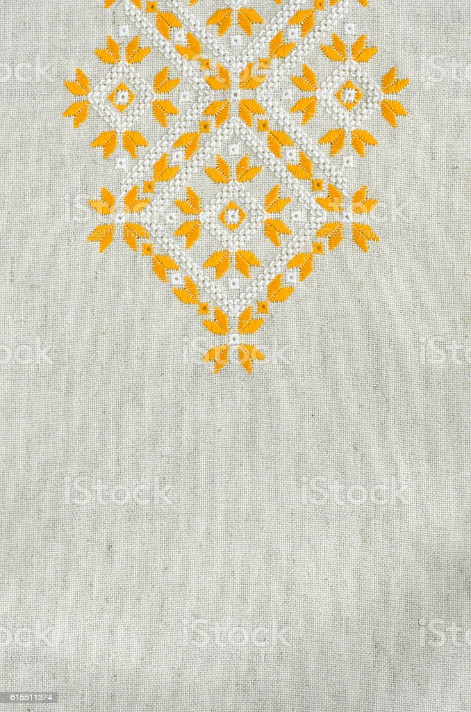 Embroidered fragment by cotton threads. Embroidery texture flat stitch. - foto de stock