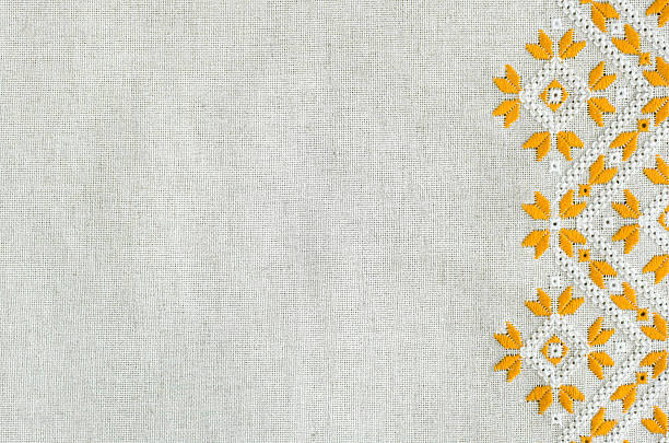 Embroidered fragment on flax by yellow and white cotton threads. Embroidered fragment on flax by yellow and white cotton threads. Macro embroidery texture flat stitch. Geometric ornament. threading stock pictures, royalty-free photos & images