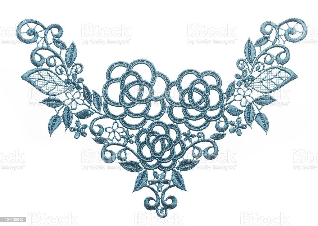 Embroidered lace trim, fabric texture royalty-free stock photo