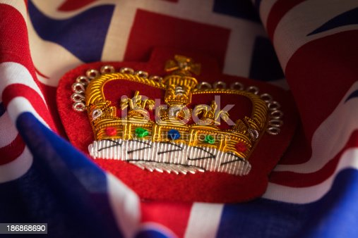 istock Embroidered Queens Crown Badge and Union Jack 186868690