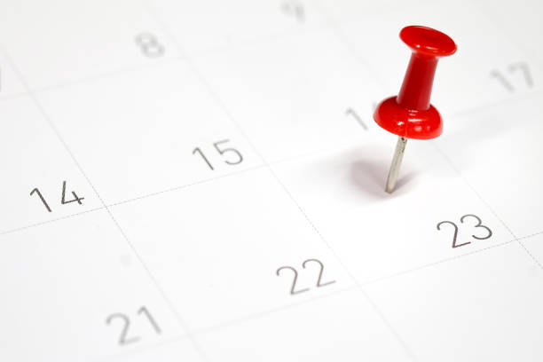 embroidered red pins on a calendar on the 23rd with selective focus - calendar date stock photos and pictures