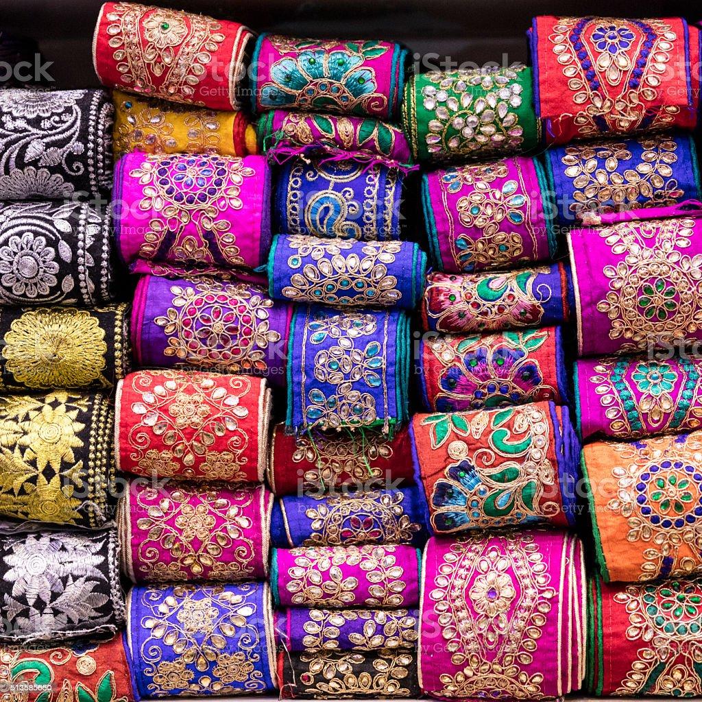 Embroidered Ribbon at Hagi Bazaar, Shiraz, Iran stock photo