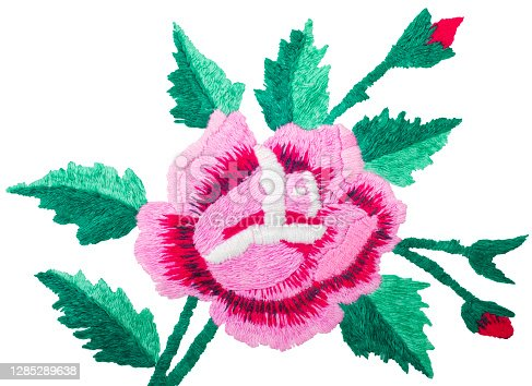 embroidered rose flower on white fabric, folk embroidery, decorated fabric