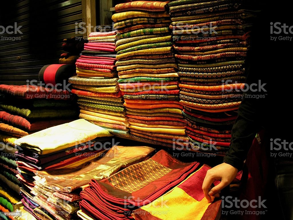 embroidered silk store in Phnom Penh stock photo