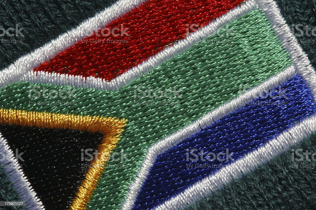 Embroidered South African flag royalty-free stock photo
