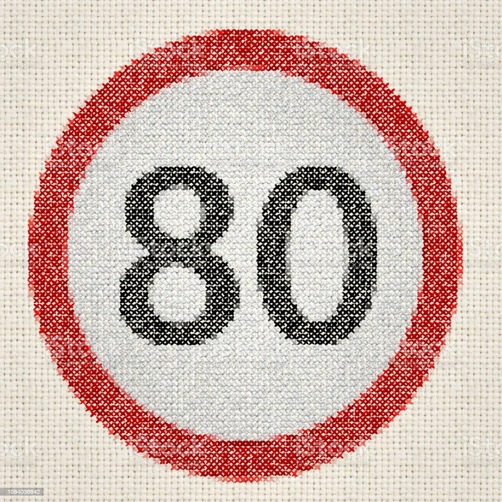 Vitesse brodé signe max vitesse maximale 80 kmh - Photo