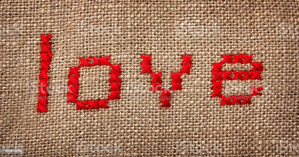 Embroidered word 'love' royalty-free stock photo