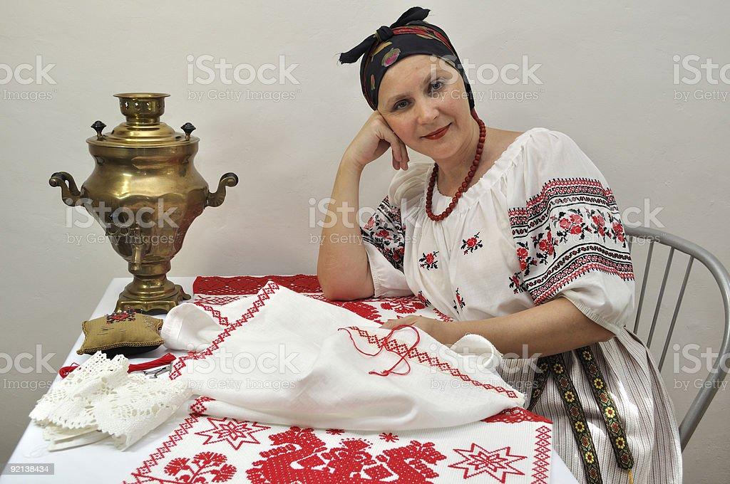 Embroideress stock photo