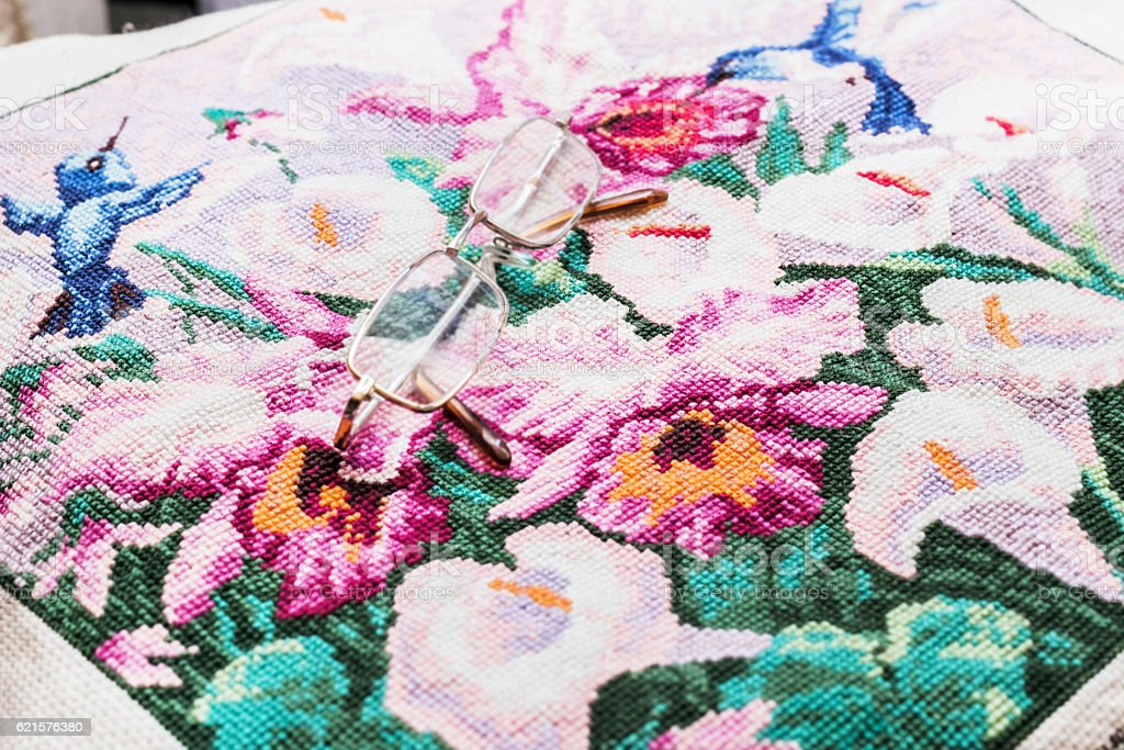 Embroidery and glasses photo libre de droits