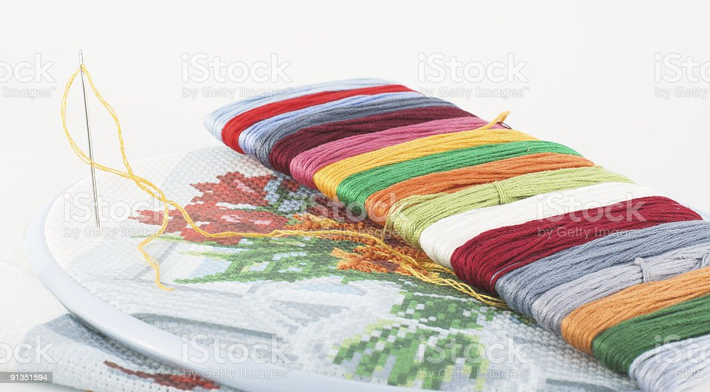Embroidery and needle royalty-free stock photo