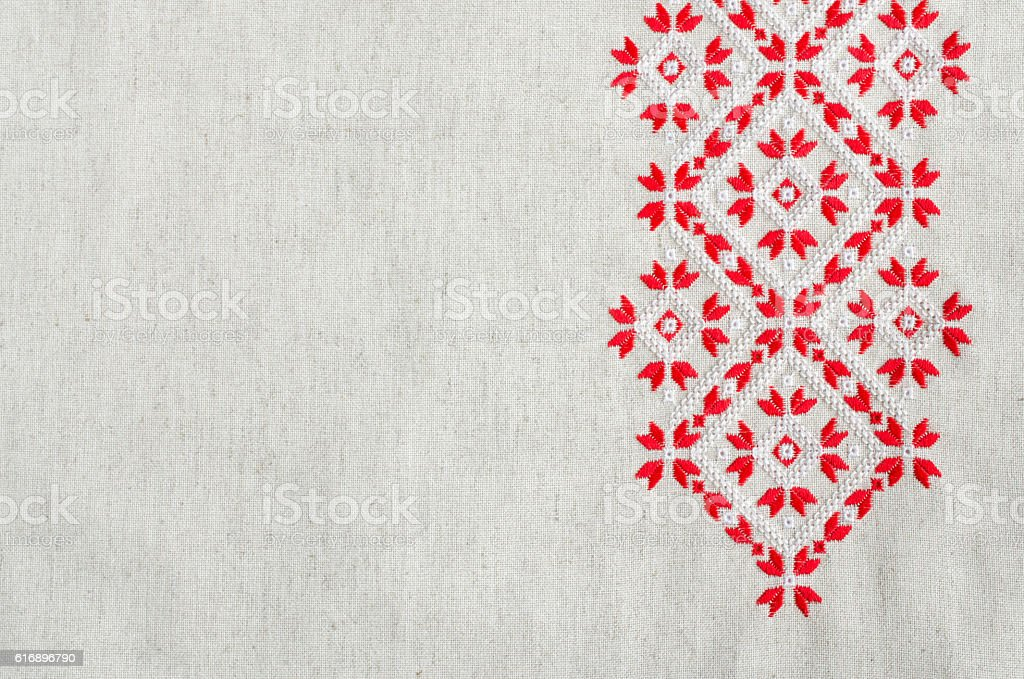Embroidery design by cotton threads. Christmas background with embroidery. - foto de stock