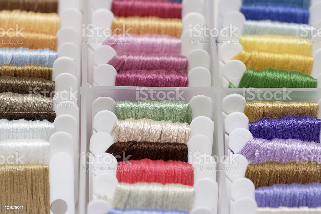 Embroidery floss sorting box royalty-free stock photo