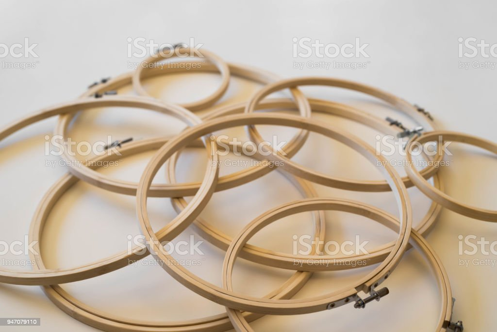 Embroidery Hoops Low Angle Background stock photo