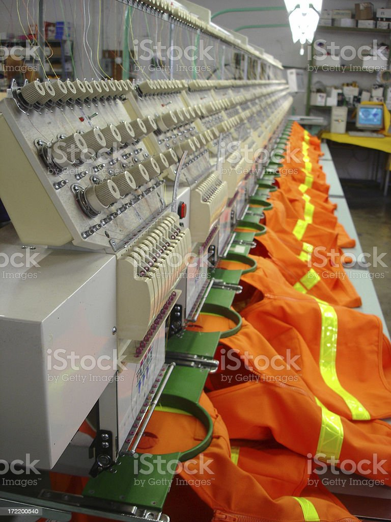 Embroidery Machine Safety stock photo
