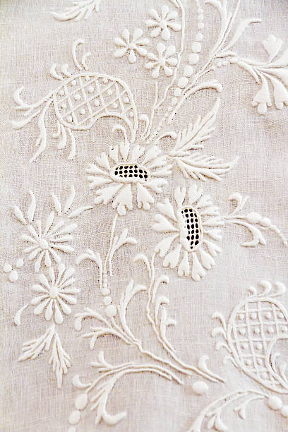 Embroidery Old hand-decorated curtains lace textile stock pictures, royalty-free photos & images