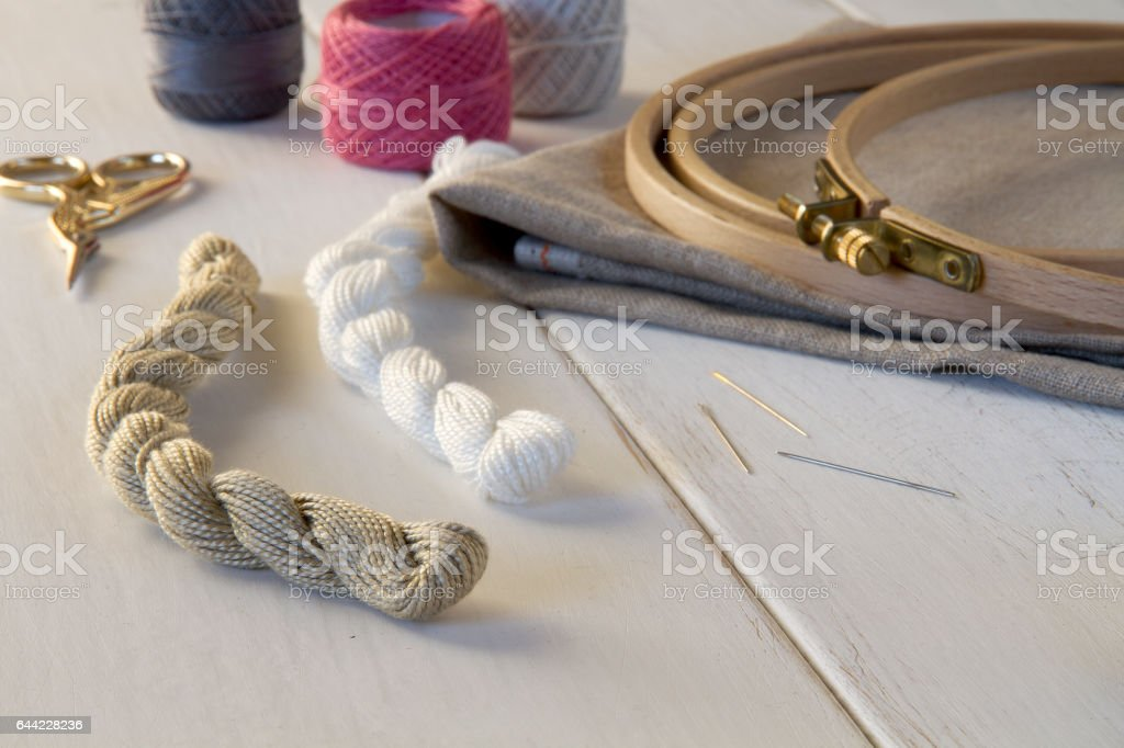 Embroidery tools with hoop and threads стоковое фото