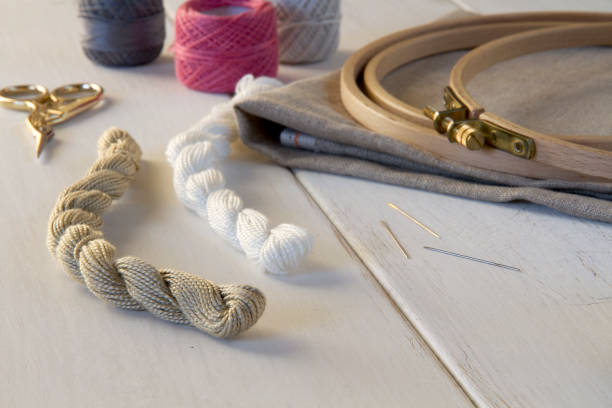 Cтоковое фото Embroidery tools with hoop and threads