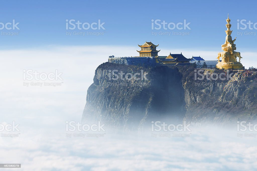 Emeishan Jinding temple at 3000m above sea level stock photo