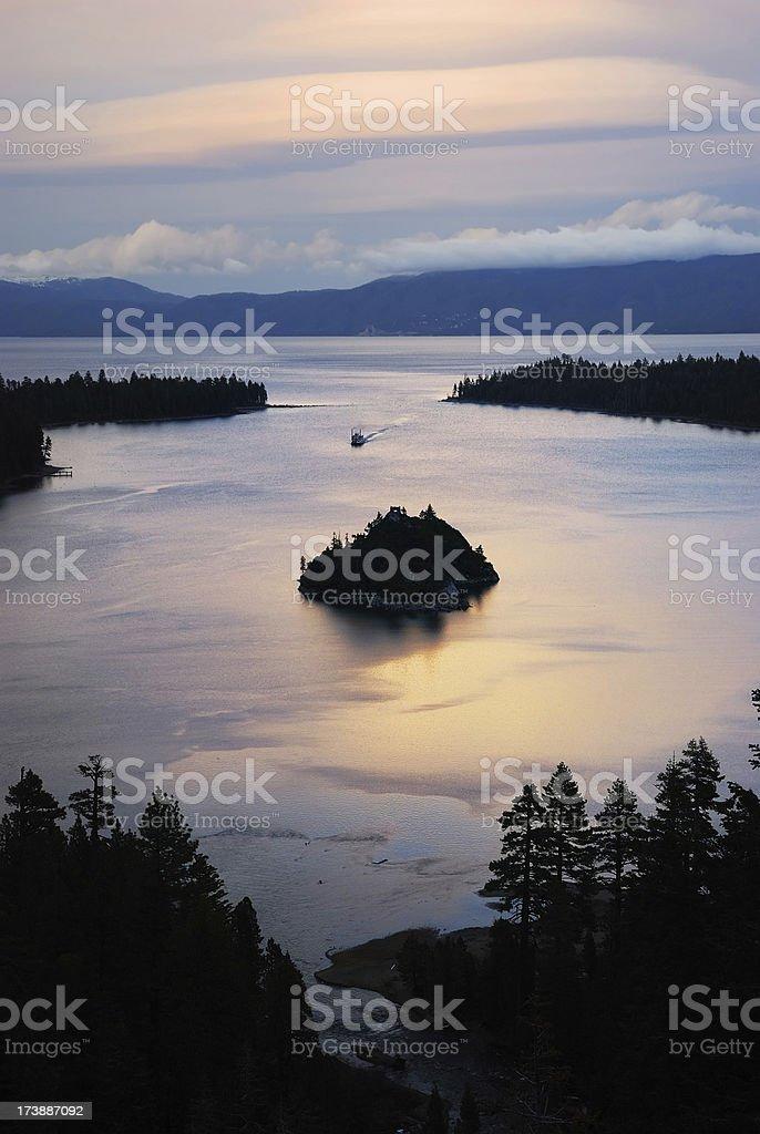 Emerald bay at sunset royalty-free stock photo