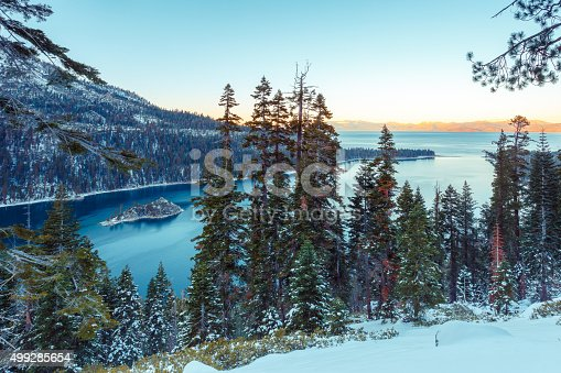 Snow covered mountains at Emerald Bay, South Lake Tahoe, CA