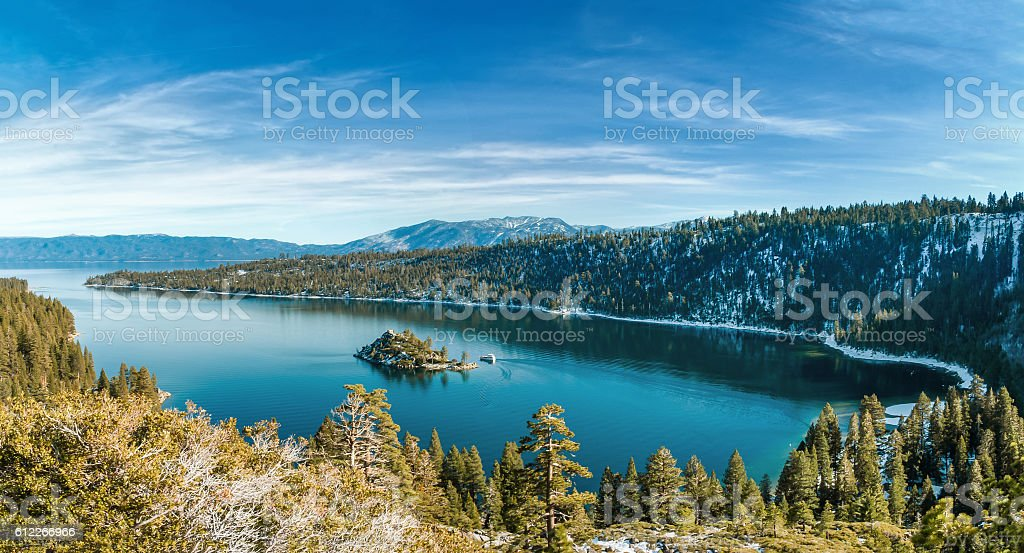 Emerald Bay in Winter stock photo