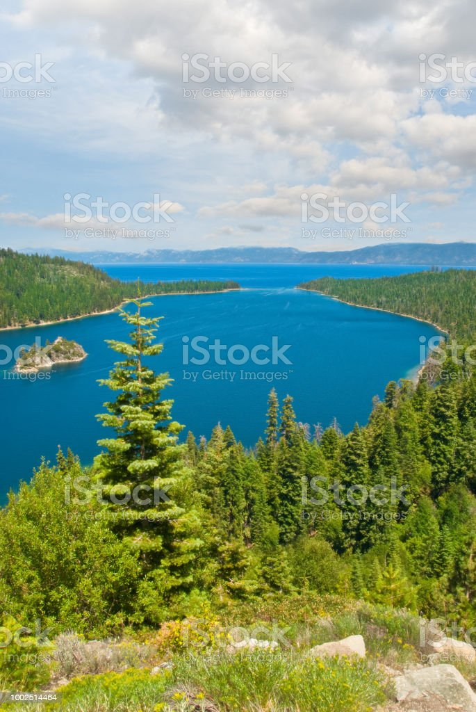 Fannette Island, Emerald Bay and Lake Tahoe stock photo
