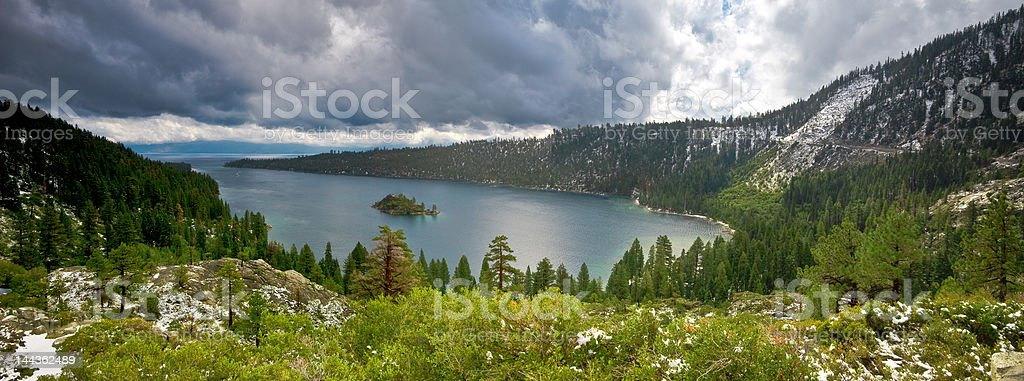 Emerald Bay panorama stock photo