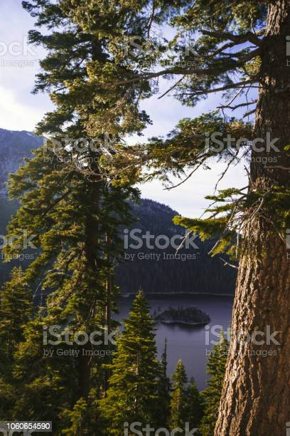 Emerald Bay portrait view with Fannette Island in South Lake Tahoe California in the Sierra Nevada mountains. Golden hour