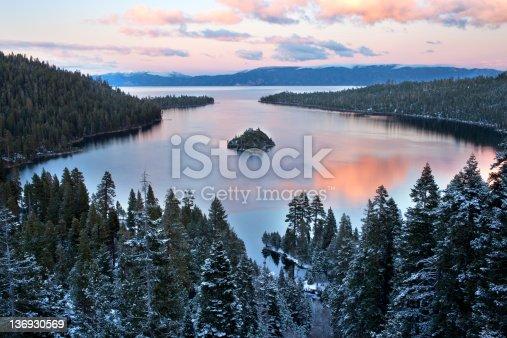 Sunset at Emerald Bay in Lake Tahoe, California.