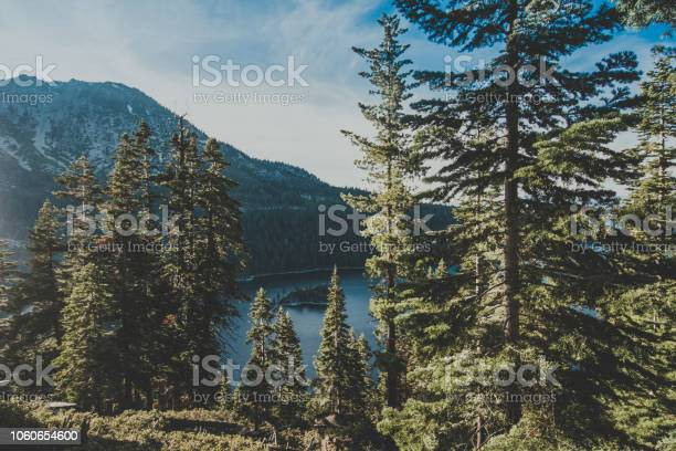 Emerald Bay view with Fannette Island in South Lake Tahoe California in the Sierra Nevada mountains. Golden hour