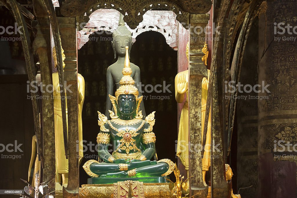 Emerald buddha statue at Wat Mai stock photo