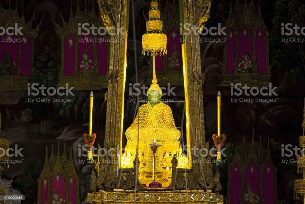 Emerald Buddha statue enshrined in Wat Phra Kaew, Bangkok stock photo