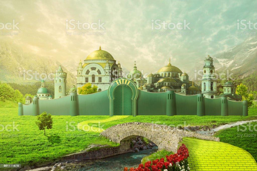 Ilustración de la ciudad esmeralda - foto de stock