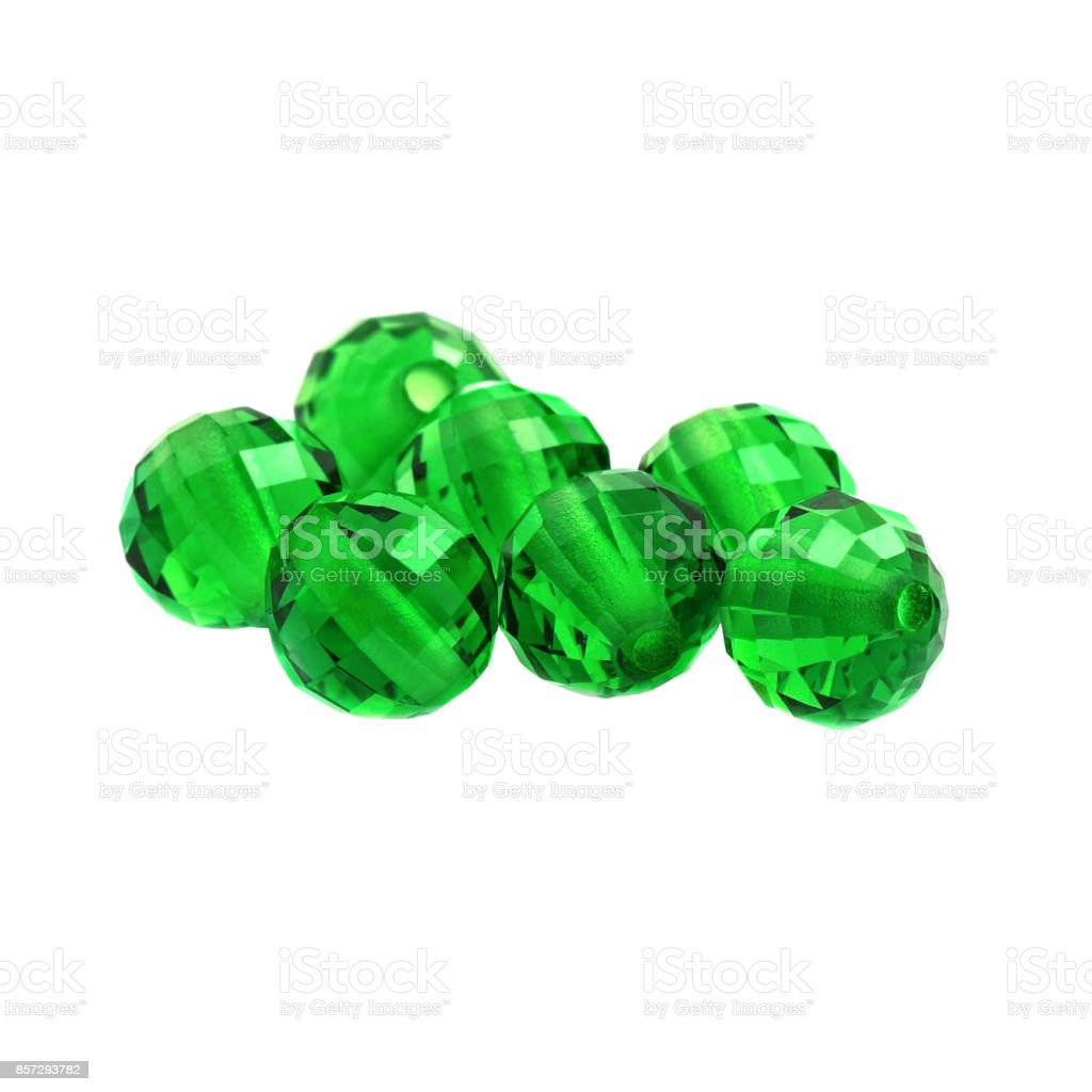 Emerald Color Beads stock photo