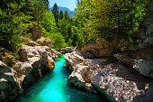 Great rafting and kayaking place in Europe. Majestic nature place with kayaking destination. Stunning turquoise Soca river and narrow gorge, Bovec, Slovenia, Europe