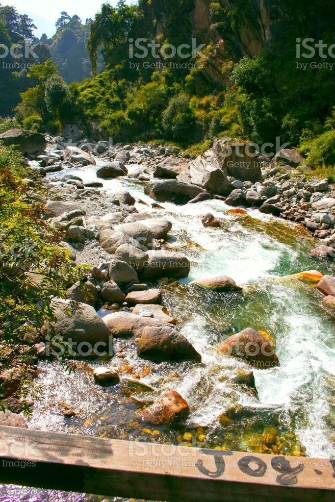 Emerald Color Tirthan River royalty-free stock photo