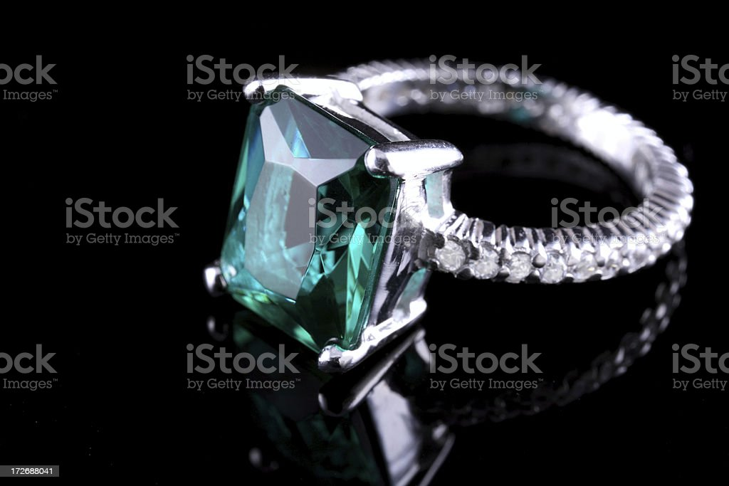 Emerald Diamond Ring stock photo